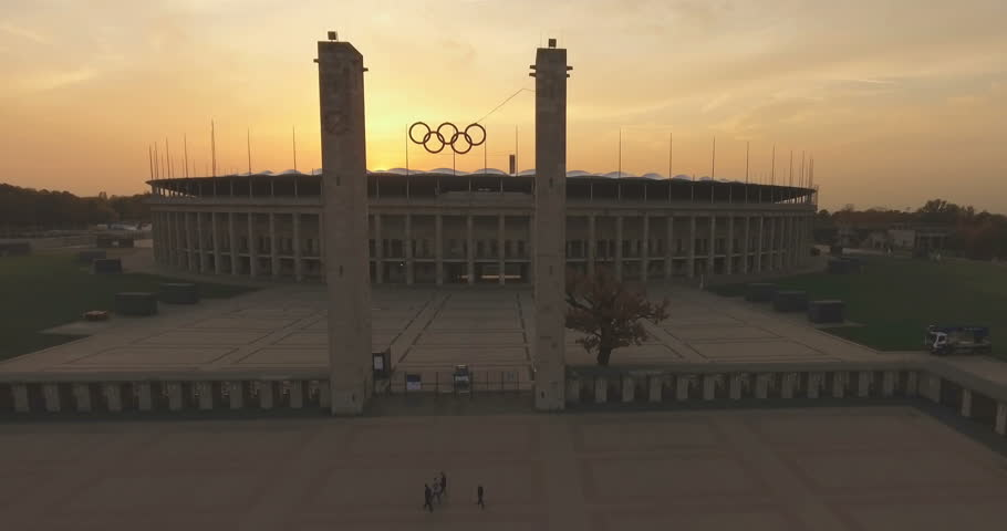 BERLIN, GERMANY - OCTOBER 18, 2017: Aerial view of the Olympia Stadium, built for the 1936 Summer Olympics. Taken from the top of the tower in the Olympic Park. Berlin, Germany