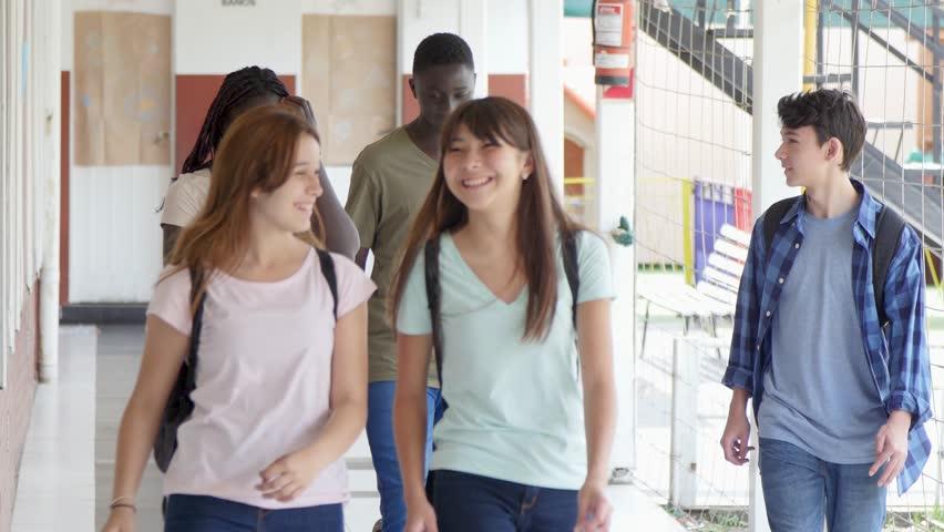 Happy five mixed races students walking in school hallway. | Shutterstock HD Video #1012427837