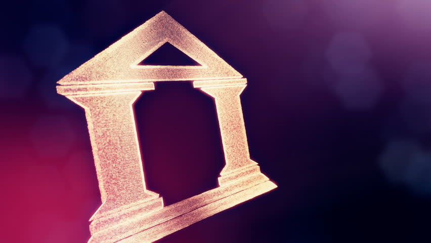 icon of bank. Financial background made of glow particles as vitrtual hologram. 3D seamless animation with depth of field, bokeh and copy space. Violet version 3
