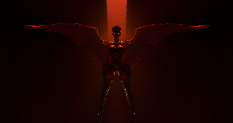 Sexy Winged Devil Woman in bondage floating in a fiery inferno 3d animation