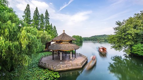 """timelapse of hangzhou west lake landscape,the chinese word in photo mean""""daise pavilion"""""""