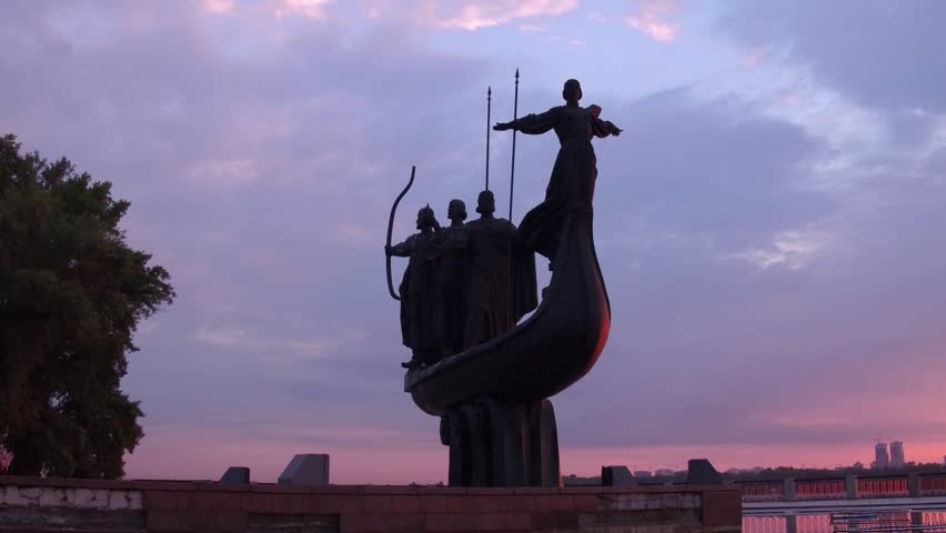 Dolly shot. Sunrise. A monument to the founders of Kyiv. June 19, 2018 Ukraine, Kyiv (Kiev) | Shutterstock HD Video #1012515047