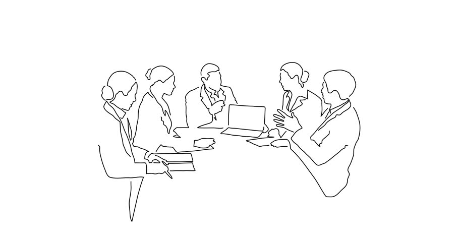 Teamwork meeting line drawing, animated illustration design. Business people collection.
