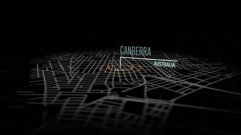 Locations Canberra, Australia. Animation of marking a point in Canberra, Australia. Location of the city, large shopping center. Video in 4K with resolution of 3840x2160.