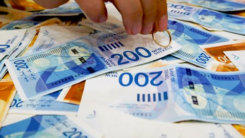 Concept of marriage of convenience with New Israeli Shekel, money