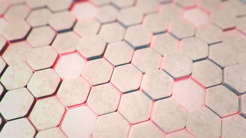 Abstraction with animation of wave mosaic of stone hexagonal blocks with neon light on background. Technological backdrop. Animation of seamless loop.