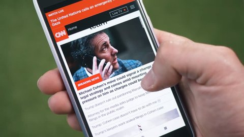 MONTREAL, CANADA - June 2018 :  CNN news on a smartphone to stay up to date with the last news happening on a mobile device.