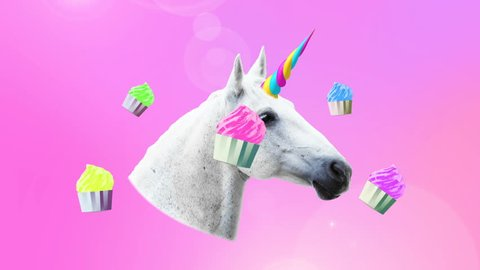 Animation minimal art. Unicorn and cake sweet vibes