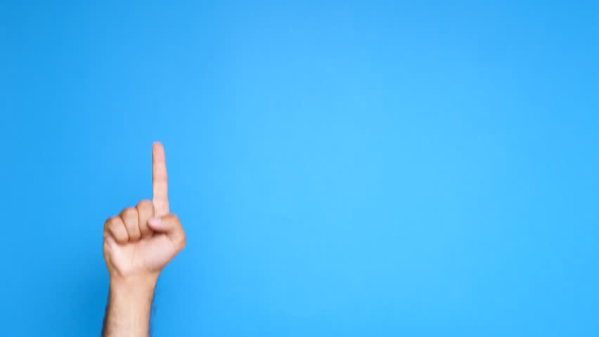 Male hand slowly rising and pointing up on blue screen. Shot in studio   Shutterstock HD Video #1012685477