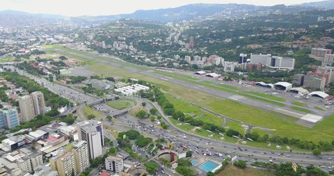 Excellent panoramic view of La Carlota airport in Caracas, Venezuela