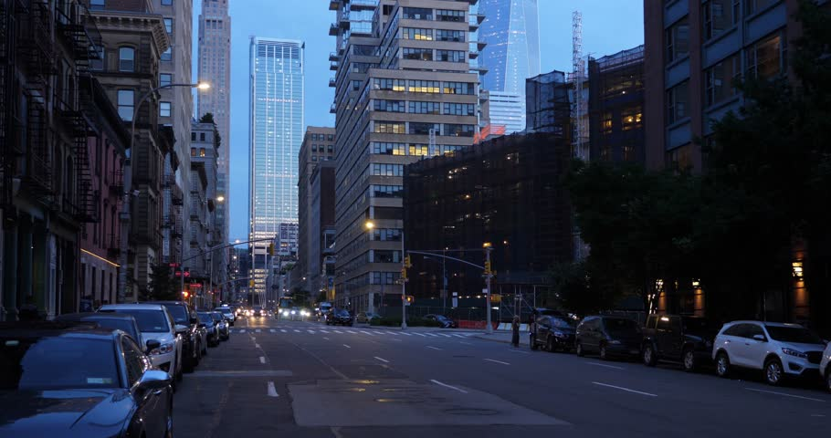 A night view of a typical downtown Manhattan street.  	  | Shutterstock HD Video #1012699607