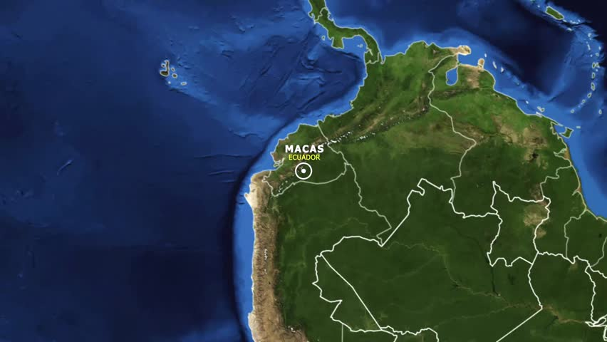 ECUADOR MACAS ZOOM IN FROM SPACE