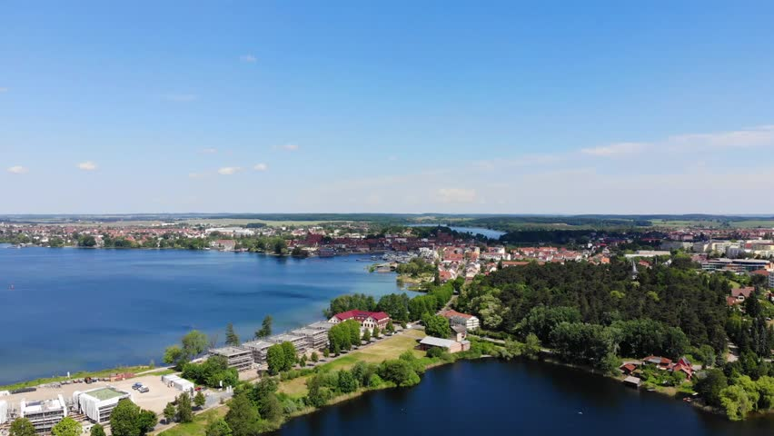 Aerial view of the City of Waren (Müritz), flight sideways,  Mecklenburg-Vorpommern, Germany