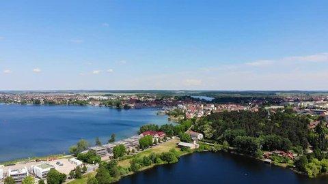 Aerial view of the City of Waren (Müritz), flight sideways,  Mecklenburg-Vorpommern, Germany