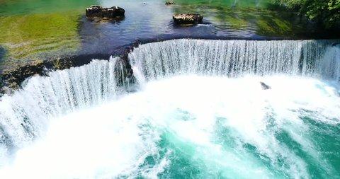 Aerial View Of Manavgat Waterfall In Antalya Turkey. 4K Drone Footage.