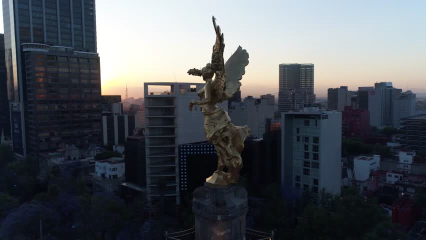 Angel de la Independencia Aerial Drone Day Footage