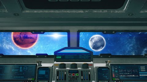 Spaceship cockpit interior rotating, inside of alien spacecraft cabin in space with planets and stars, animated sci-fi scene