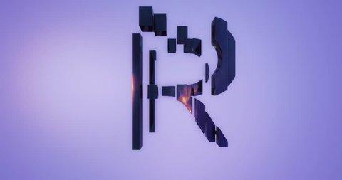 3D rendering black Alphabet split moving on blue background,Letter R uppercase