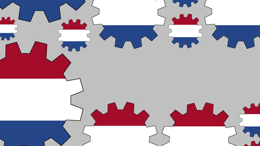 Gears with the dutch flag shaping euro symbol zooming out