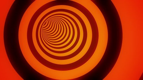 Fly through cylindrical hypnotic tunnel with black and glowing orange stripes. Seamless loop. 4K, UHD, Ultra HD resolution. More color options available - check my portfolio.