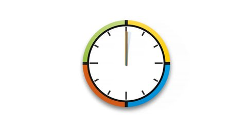 Animated clock counting down 12 hours over 30 seconds. Seamlessly loops. Time lapse. Alpha channel Included.