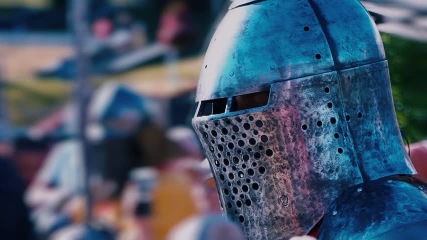 Knight Tournament. Knight before the fight. Man in Iron Armor