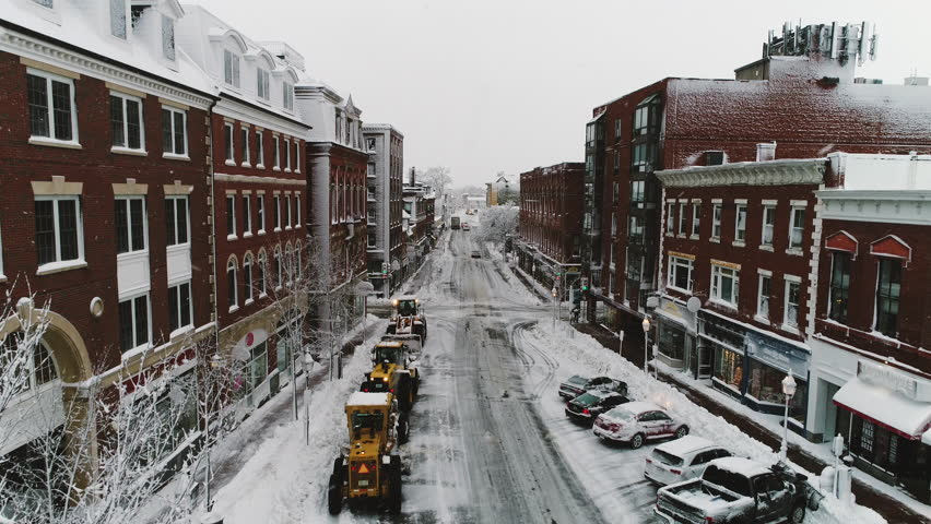 Blizzard streets Winter Storm Nor'Easter Portsmouth New Hampshire Aerial Drone Snow Ice Bad Weather