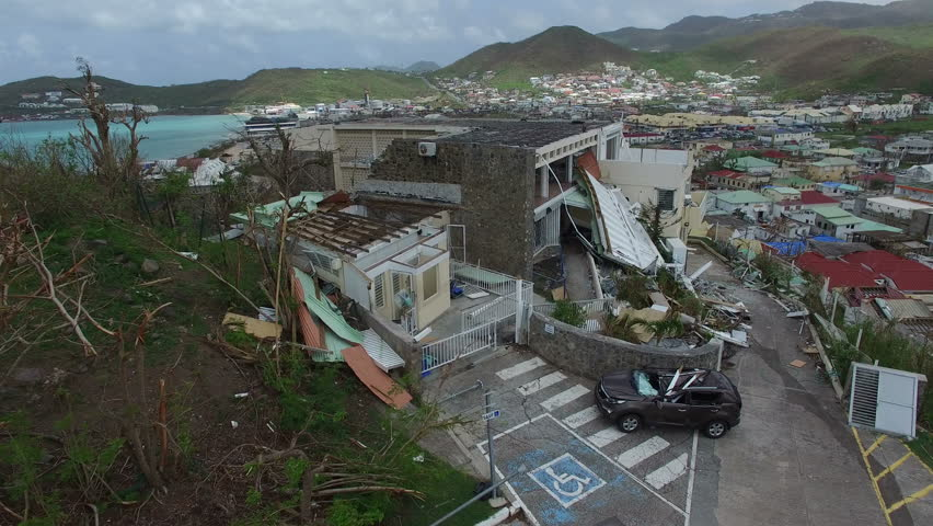 St.martin September 2017:Hurricane Irma a category 5 storm completely destroyed a building on french st martin