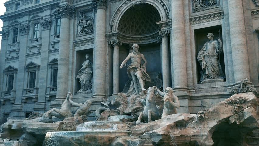 World Famous Fontana Di Trevi (Trevi Fountain) In Rome, Italy. Blue Tone.