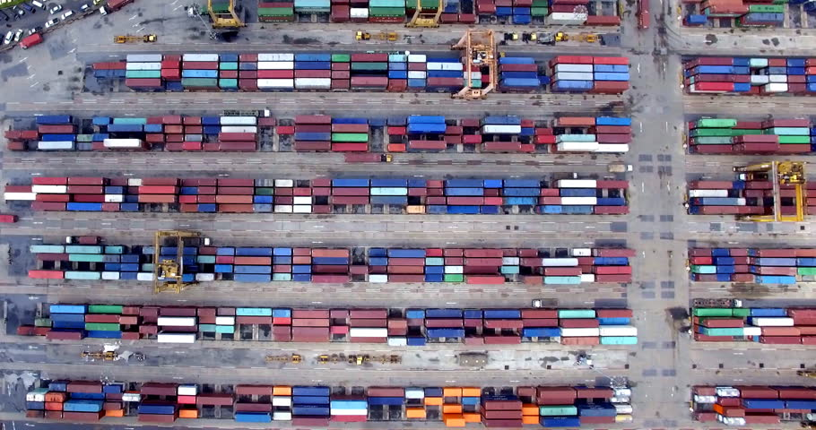 Aerial view of Industrial port | Shutterstock HD Video #1012916057