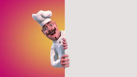 Fun Chef Pizza Alpha Matte 3D Rendering Animation
