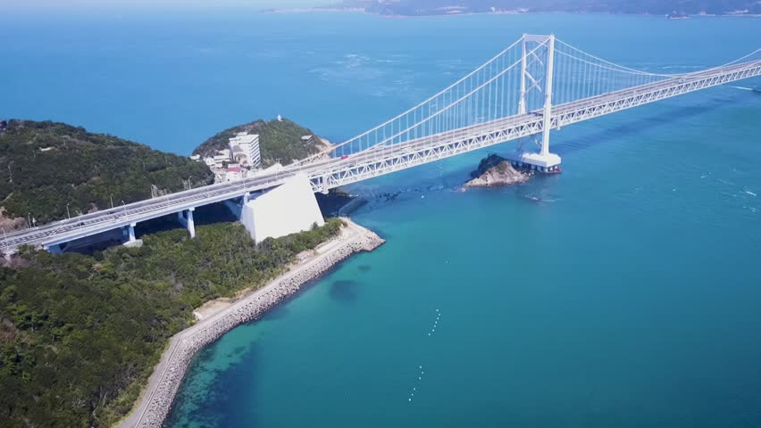 Aerial, great Naruto bridge in Tokushima Japan, aerial establishing shot.