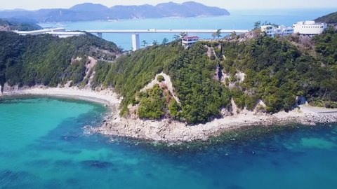 Great Naruto Bridge in Tokushima Japan, busy highway between Japans mainland and also tourist destination to view whirlpools that form below.