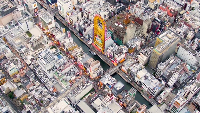June 01, 2018 Osaka, Japan  dotombori aerial Namba Osaka helicopter shot  | Shutterstock HD Video #1013021207