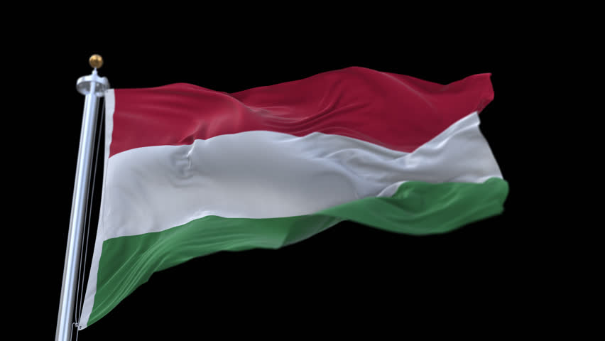 4k seamless hungary flag with flagpole waving in wind.A fully digital rendering,The animation loops at 20 seconds.flag 3D animation with alpha channel included. cg_06249_4k