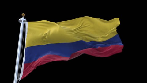 4k seamless Colombia flag with flagpole waving in wind.A fully digital rendering,The animation loops at 20 seconds.flag 3D animation with alpha channel included. cg_06240_4k