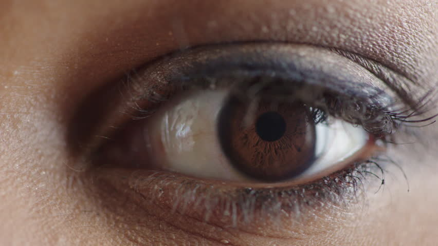 close up woman eye opening blinking looking around makeup cosmetics #1013095937