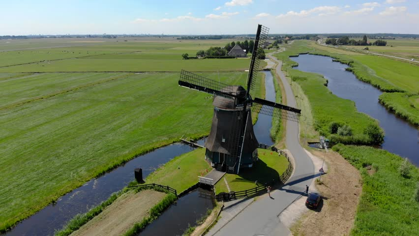 Windmill Volendam, North Holland, Netherlands. Aerial shot of the front side of the Windmill.