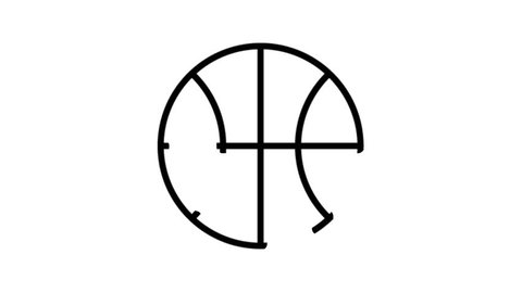 Basketball Ball Animation Flat line icon stock video design drawing isolated on white symbol background