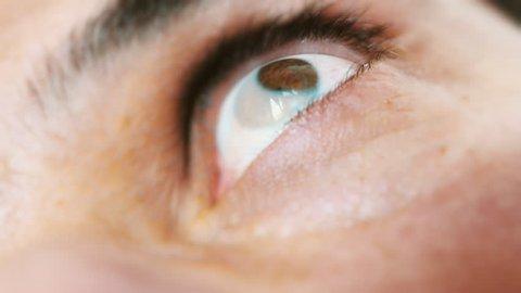 Man having a seizure, eye twitching nervously. Terrifying accident. 4K video