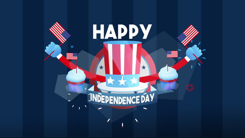Happy Independence Day Animation. Celebrating 4th of July in the USA. HD animation.