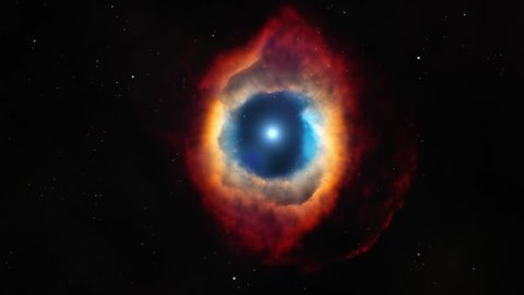 Cinematic after effects zoom into the helix nebula