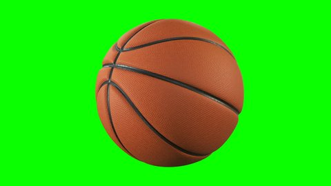 Set of 3 Videos. Beautiful Basketball Ball Rotating in Slow Motion on Green Screen. Looped Basketball 3d Animation of Spinning Ball. 4k UHD 3840x2160.