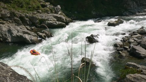 Raft capsizes on the whitewater on the Yoshino River in Tokushima Japan