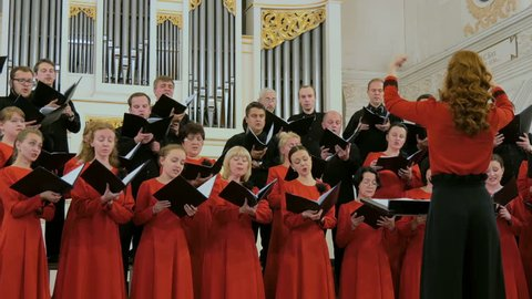 NIZHNIY NOVGOROD, RUSSIA - JUNE 2018 - Conservatory - Group of people singing in choir