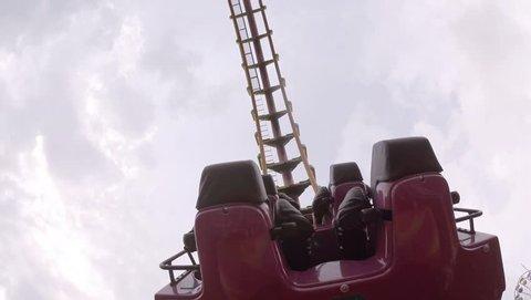 Hong Kong, China - March 15,2017 : Riding a crazy roller coaster in Ocean Park in Hong Kong