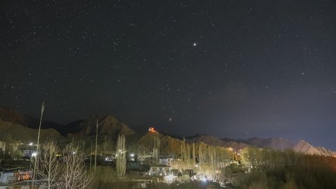 Milky way raising over Leh city in Ladakh, India.