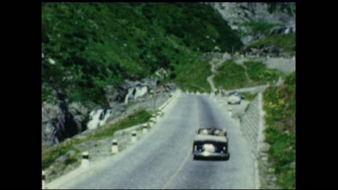 Brenner Pass with traffic, Europe 1950's. 8mm vintage home movies.