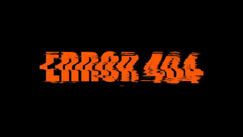 Letters of Error 404 text with noise on black, 3d render background, computer generating for gaming