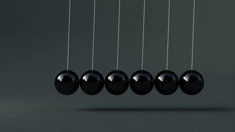 Animation of black newton's cradle 3d animation